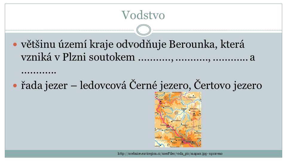 Vodstvo většinu území kraje odvodňuje Berounka, která vzniká v Plzni soutokem...........,...........,............