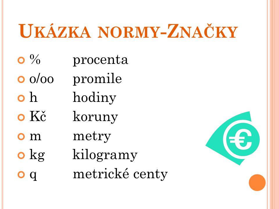 U KÁZKA NORMY -Z NAČKY %procenta o/oo promile hhodiny Kčkoruny mmetry kg kilogramy qmetrické centy