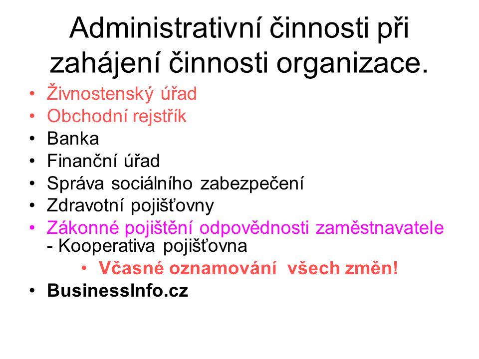 Administrativní činnosti při zahájení činnosti organizace. Živnostenský úřad Obchodní rejstřík Banka Finanční úřad Správa sociálního zabezpečení Zdrav