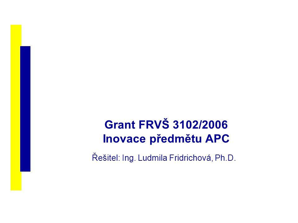 Grant FRVŠ 3102/2006 Inovace předmětu APC Řešitel: Ing. Ludmila Fridrichová, Ph.D.
