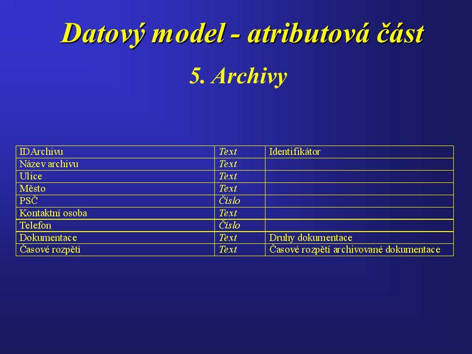 Datový model - atributová část 5. Archivy