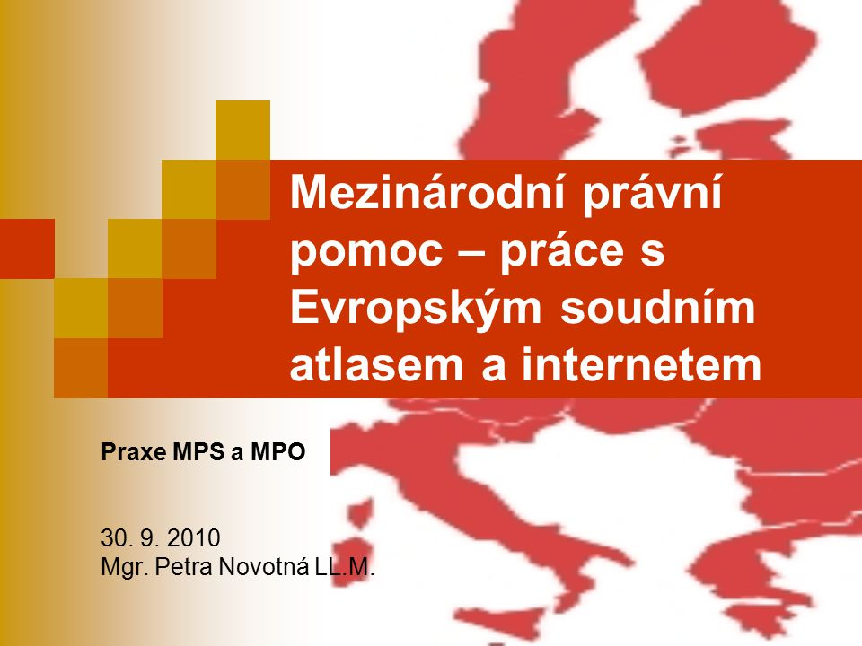 """Otázka 1 Rozlište pojmy: Mezinárodní právní pomoc: Právní pomoc ve styku s cizinou Státem zajišťovaná právní pomoc (""""bezplatná ) Zajištěním právní pomoci v přeshraničním sporu EU zahraniční oprávněné osobě v ČR se rozumí: - ustanovení zástupce v řízení před procesním soudem, - ustanovení tlumočníka, - osvobození od soudních poplatků a od placení zálohy na náklady důkazu, - pořízení překladu písemností, - náhrada nezbytných cestovních nákladů, pokud je její přítomnost před procesním soudem nezbytná."""