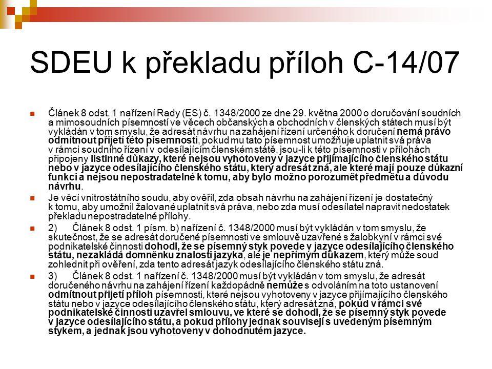 SDEU k překladu příloh C-14/07 Článek 8 odst.1 nařízení Rady (ES) č.