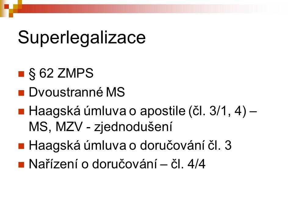 Superlegalizace § 62 ZMPS Dvoustranné MS Haagská úmluva o apostile (čl. 3/1, 4) – MS, MZV - zjednodušení Haagská úmluva o doručování čl. 3 Nařízení o