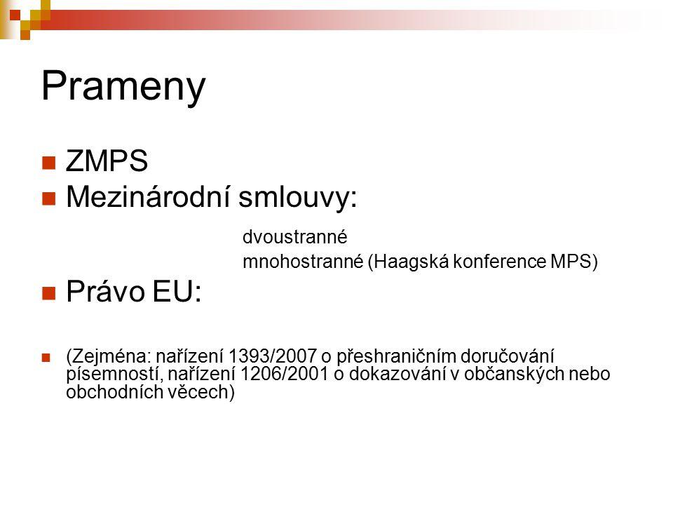 Prameny ZMPS Mezinárodní smlouvy: dvoustranné mnohostranné (Haagská konference MPS) Právo EU: (Zejména: nařízení 1393/2007 o přeshraničním doručování písemností, nařízení 1206/2001 o dokazování v občanských nebo obchodních věcech)