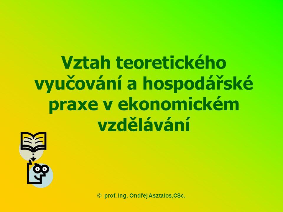Vztah teoretického vyučování a hospodářské praxe v ekonomickém vzdělávání ©prof. Ing. Ondřej Asztalos,CSc.