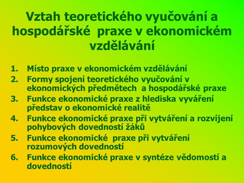 Vztah teoretického vyučování a hospodářské praxe v ekonomickém vzdělávání 1.Místo praxe v ekonomickém vzdělávání 2.Formy spojení teoretického vyučování v ekonomických předmětech a hospodářské praxe 3.Funkce ekonomické praxe z hlediska vyváření představ o ekonomické realitě 4.Funkce ekonomické praxe při vytváření a rozvíjení pohybových dovedností žáků 5.Funkce ekonomické praxe při vytváření rozumových dovedností 6.Funkce ekonomické praxe v syntéze vědomostí a dovedností