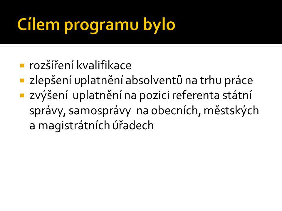  rozšíření kvalifikace  zlepšení uplatnění absolventů na trhu práce  zvýšení uplatnění na pozici referenta státní správy, samosprávy na obecních, m