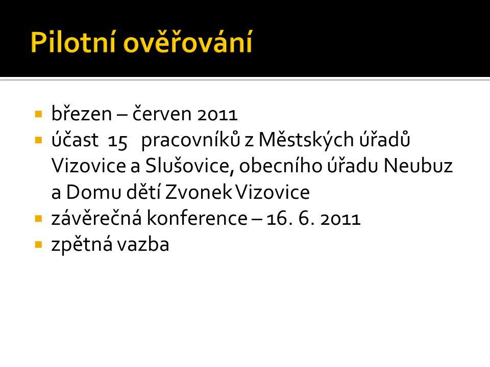  březen – červen 2011  účast 15 pracovníků z Městských úřadů Vizovice a Slušovice, obecního úřadu Neubuz a Domu dětí Zvonek Vizovice  závěrečná konference – 16.
