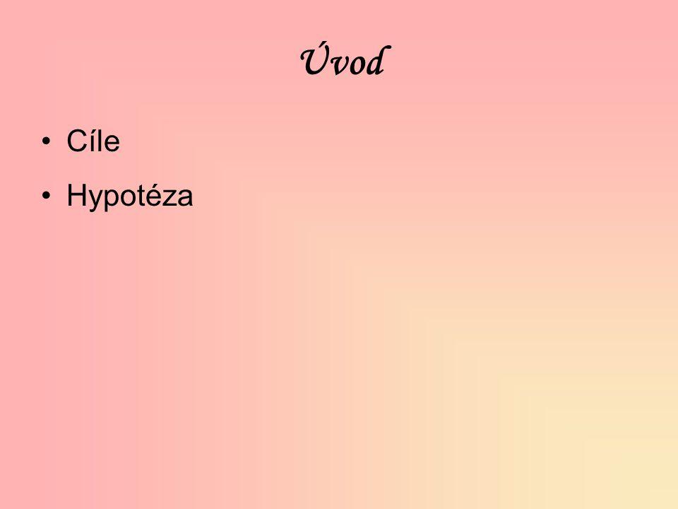 Úvod Cíle Hypotéza