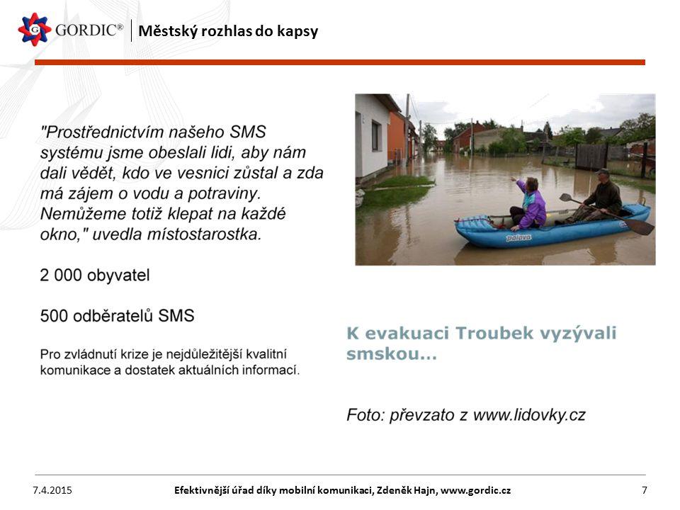 7.4.2015Efektivnější úřad díky mobilní komunikaci, Zdeněk Hajn, www.gordic.cz8 Městský rozhlas do kapsy