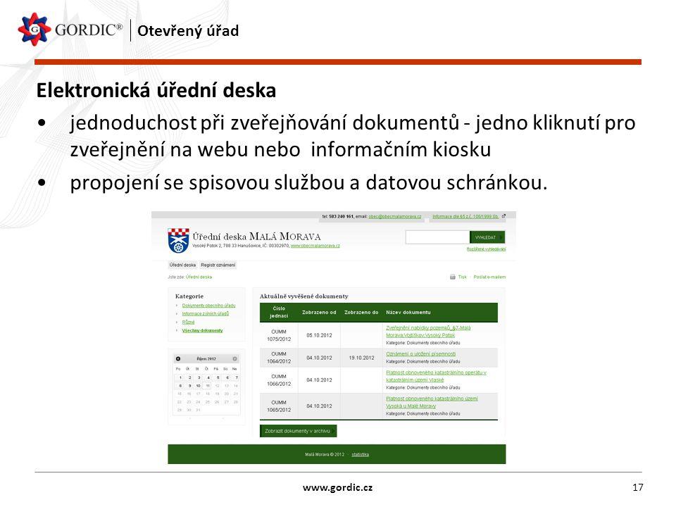 17 Otevřený úřad Elektronická úřední deska jednoduchost při zveřejňování dokumentů - jedno kliknutí pro zveřejnění na webu nebo informačním kiosku propojení se spisovou službou a datovou schránkou.