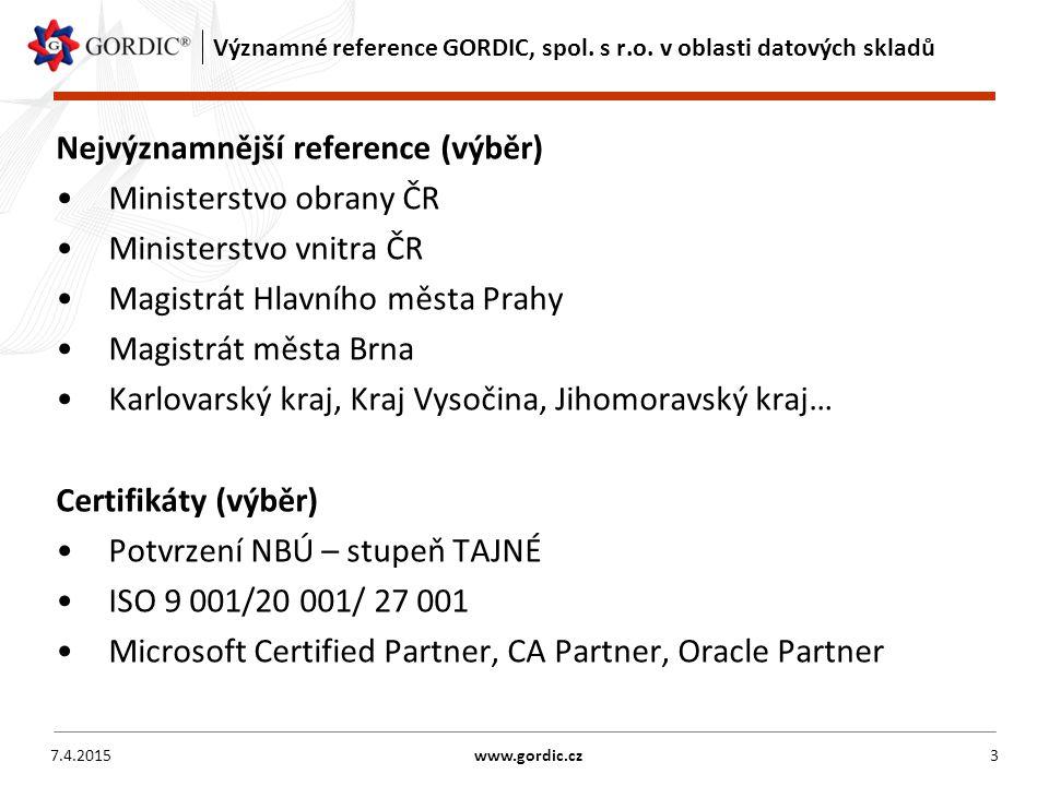 Významné reference GORDIC, spol. s r.o.