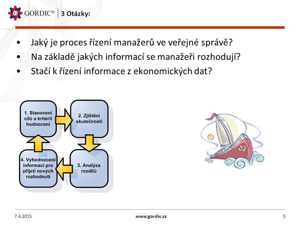 7.4.2015www.gordic.cz5 3 Otázky: Jaký je proces řízení manažerů ve veřejné správě.