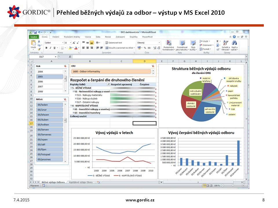 Přehled běžných výdajů za odbor – výstup v MS Excel 2010 7.4.2015www.gordic.cz8