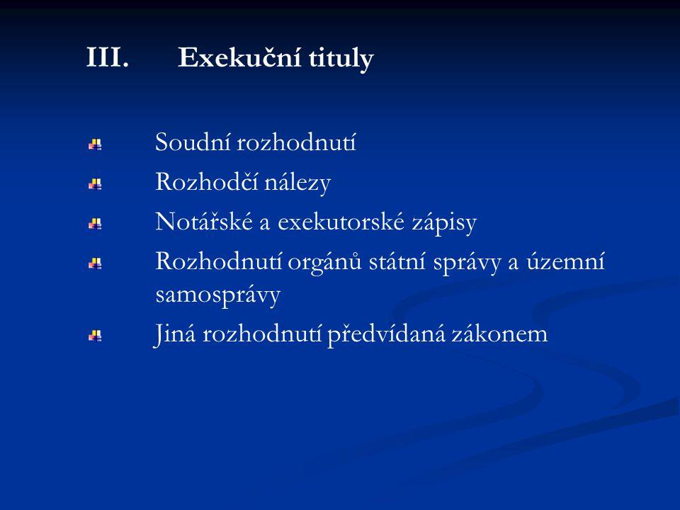 III. Exekuční tituly Soudní rozhodnutí Rozhodčí nálezy Notářské a exekutorské zápisy Rozhodnutí orgánů státní správy a územní samosprávy Jiná rozhodnu