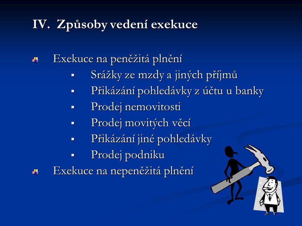 IV. Způsoby vedení exekuce Exekuce na peněžitá plnění  Srážky ze mzdy a jiných příjmů  Přikázání pohledávky z účtu u banky  Prodej nemovitosti  Pr
