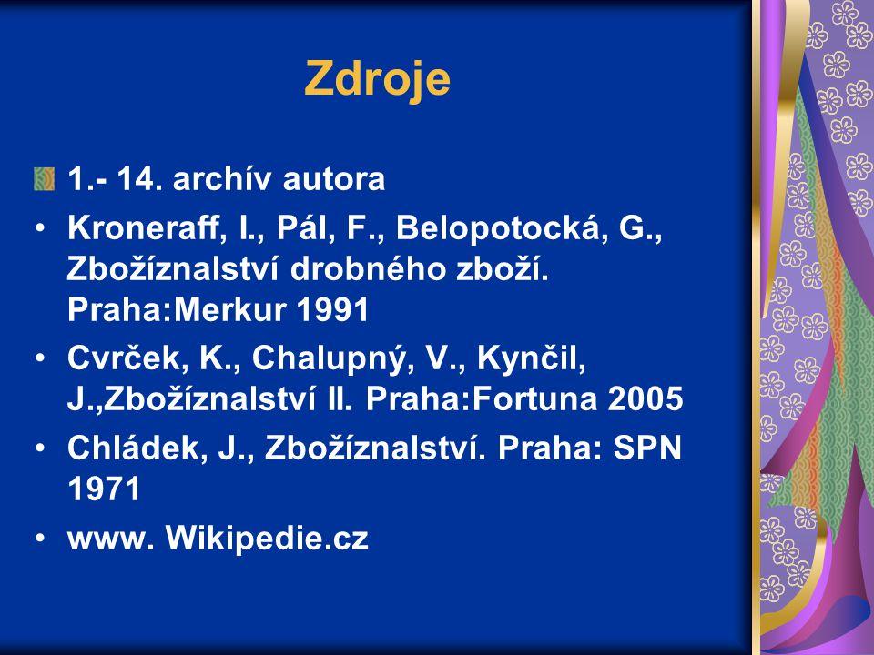 Zdroje 1.- 14. archív autora Kroneraff, I., Pál, F., Belopotocká, G., Zbožíznalství drobného zboží. Praha:Merkur 1991 Cvrček, K., Chalupný, V., Kynčil