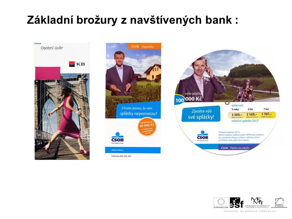 Základní brožury z navštívených bank :