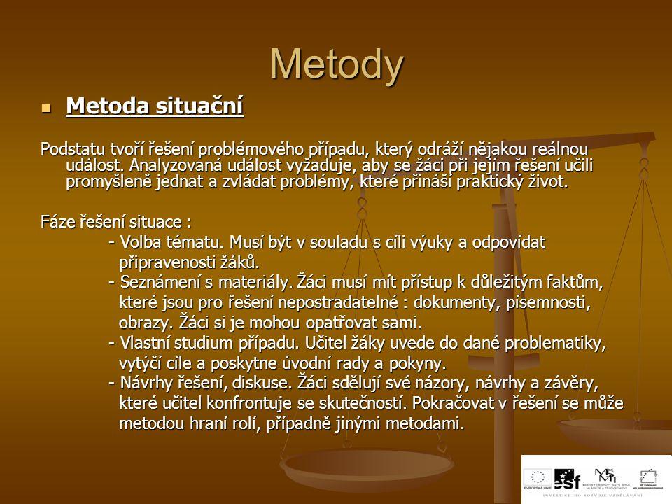 Metody Metoda situační Metoda situační Podstatu tvoří řešení problémového případu, který odráží nějakou reálnou událost. Analyzovaná událost vyžaduje,