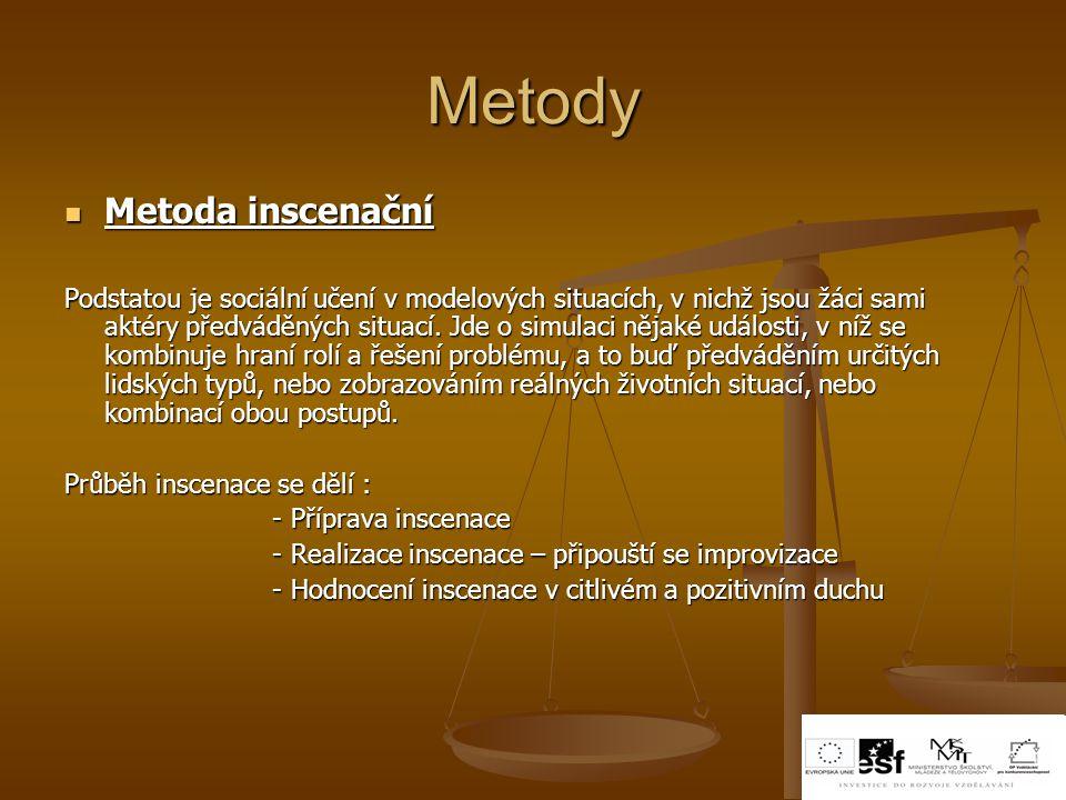 Metody Metoda inscenační Metoda inscenační Podstatou je sociální učení v modelových situacích, v nichž jsou žáci sami aktéry předváděných situací. Jde