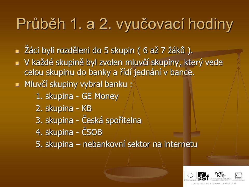 Průběh 1. a 2. vyučovací hodiny Žáci byli rozděleni do 5 skupin ( 6 až 7 žáků ). Žáci byli rozděleni do 5 skupin ( 6 až 7 žáků ). V každé skupině byl