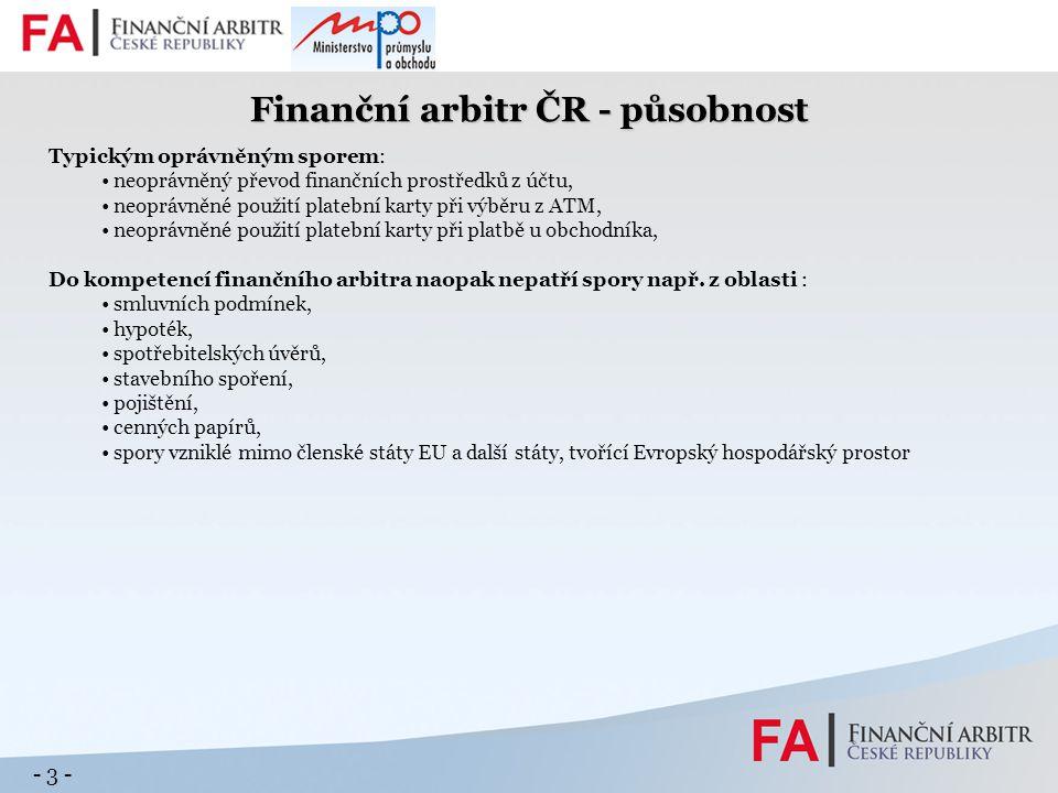 - 4 - Finanční arbitr ČR – podněty 2009 dle typu