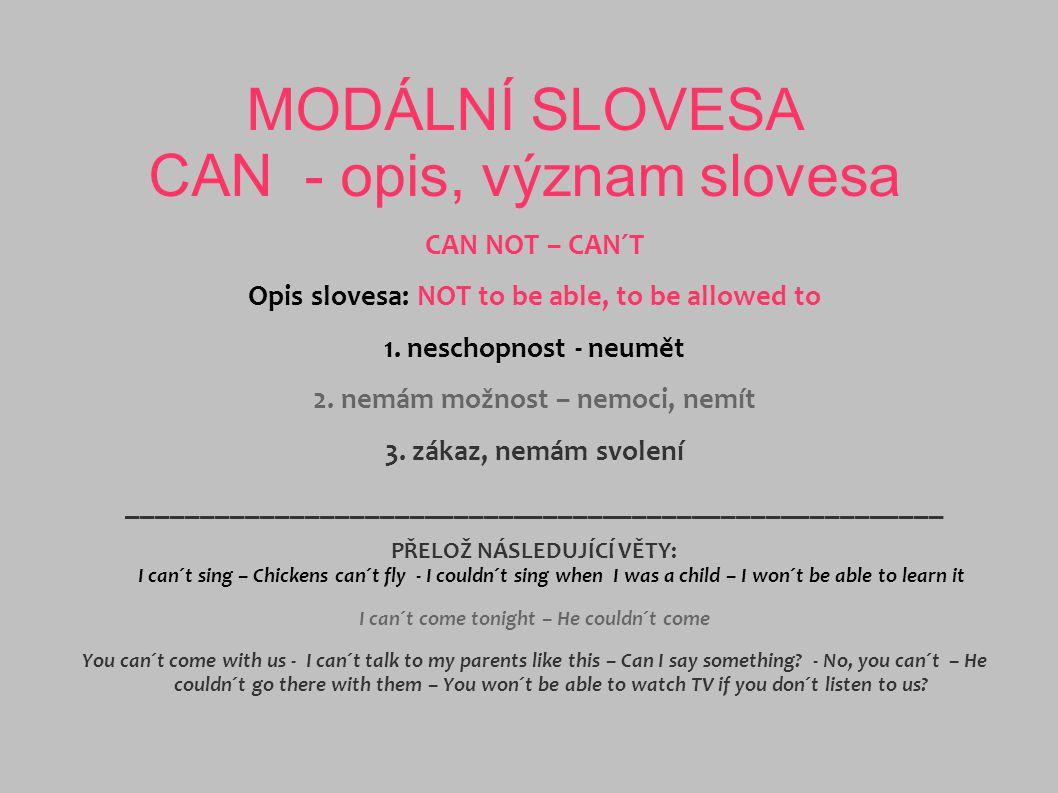MODÁLNÍ SLOVESA COULD – WAS ABLE TO V přítomném čase lze použít modální sloveso nebo i opis.