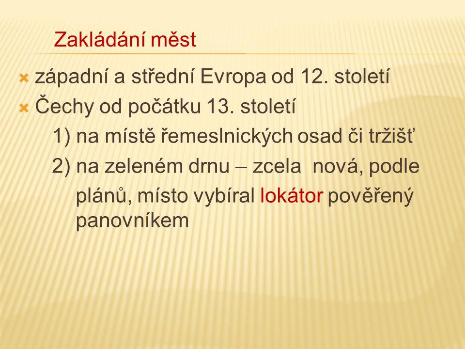  západní a střední Evropa od 12. století  Čechy od počátku 13. století 1) na místě řemeslnických osad či tržišť 2) na zeleném drnu – zcela nová, pod