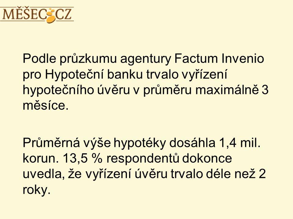 Podle průzkumu agentury Factum Invenio pro Hypoteční banku trvalo vyřízení hypotečního úvěru v průměru maximálně 3 měsíce.