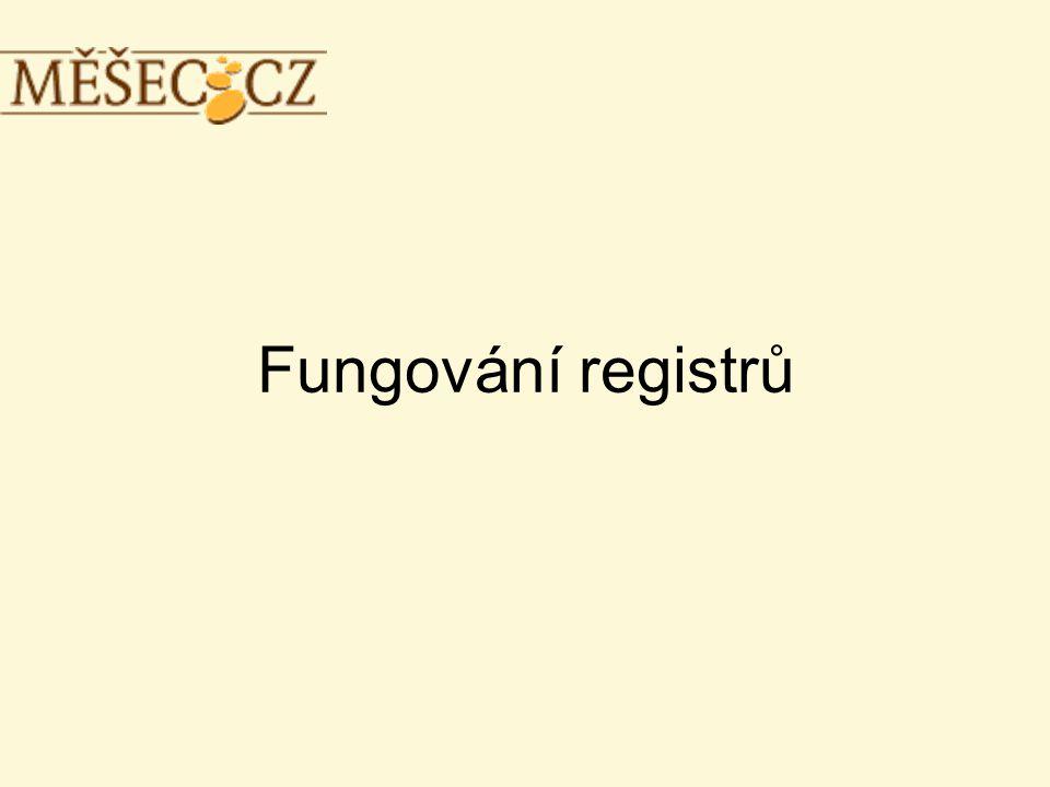Fungování registrů