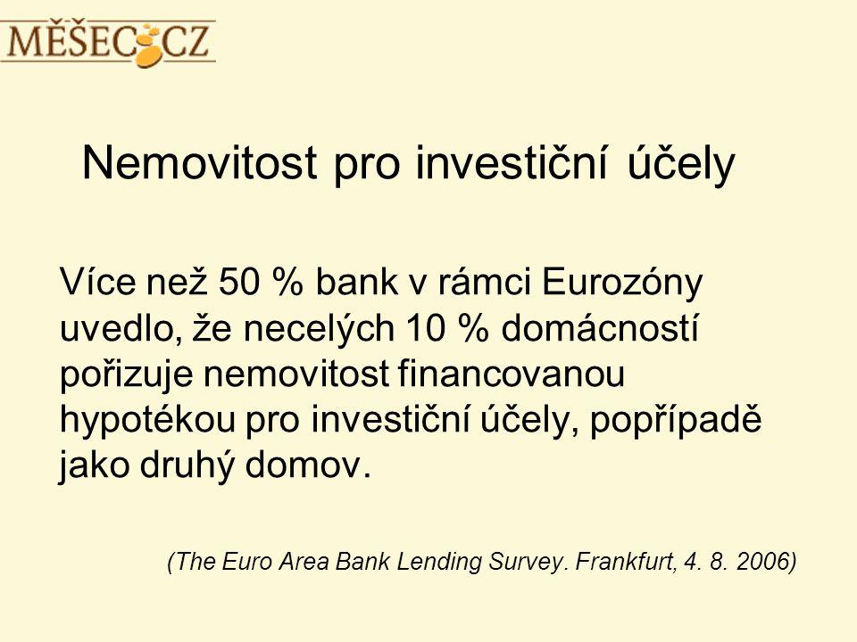 Nemovitost pro investiční účely Více než 50 % bank v rámci Eurozóny uvedlo, že necelých 10 % domácností pořizuje nemovitost financovanou hypotékou pro investiční účely, popřípadě jako druhý domov.