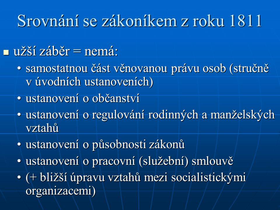 Srovnání se zákoníkem z roku 1811 užší záběr = nemá: užší záběr = nemá: samostatnou část věnovanou právu osob (stručně v úvodních ustanoveních)samosta