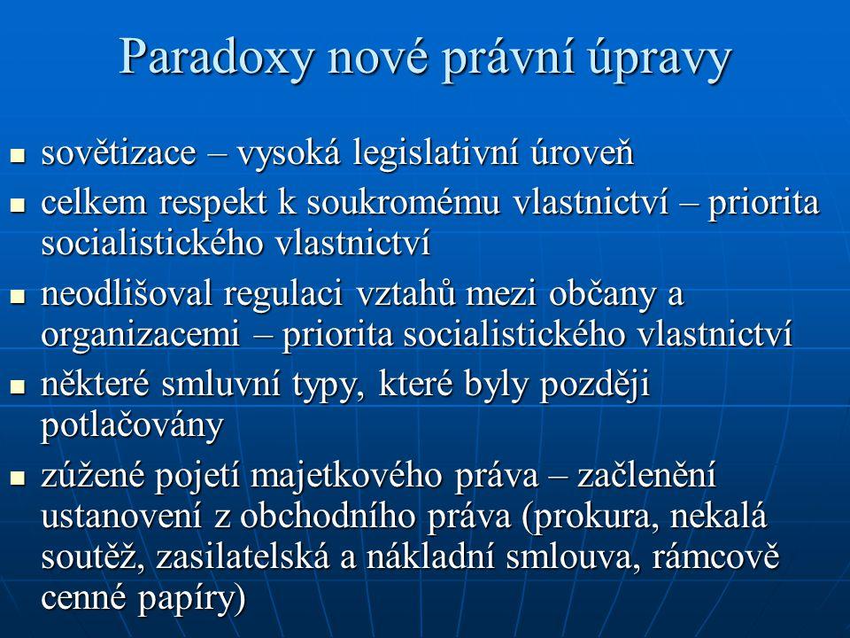 Paradoxy nové právní úpravy sovětizace – vysoká legislativní úroveň sovětizace – vysoká legislativní úroveň celkem respekt k soukromému vlastnictví –