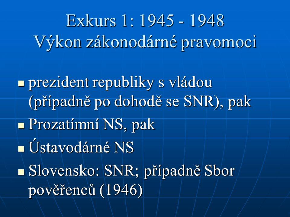 Exkurs 1: 1945 - 1948 Výkon zákonodárné pravomoci prezident republiky s vládou (případně po dohodě se SNR), pak prezident republiky s vládou (případně