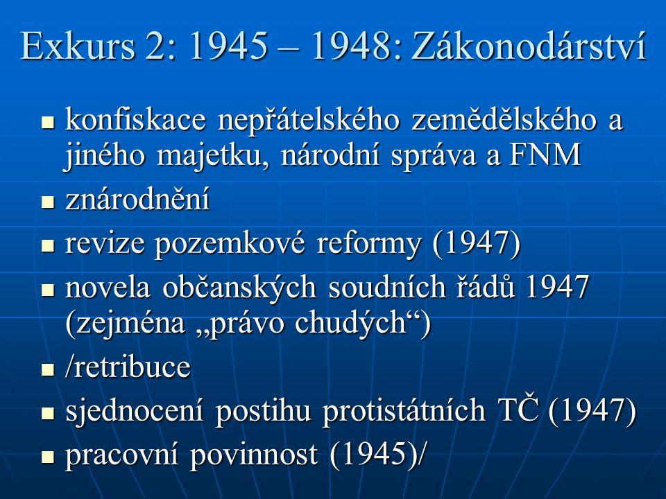 Exkurs 2: 1945 – 1948: Zákonodárství konfiskace nepřátelského zemědělského a jiného majetku, národní správa a FNM konfiskace nepřátelského zemědělskéh