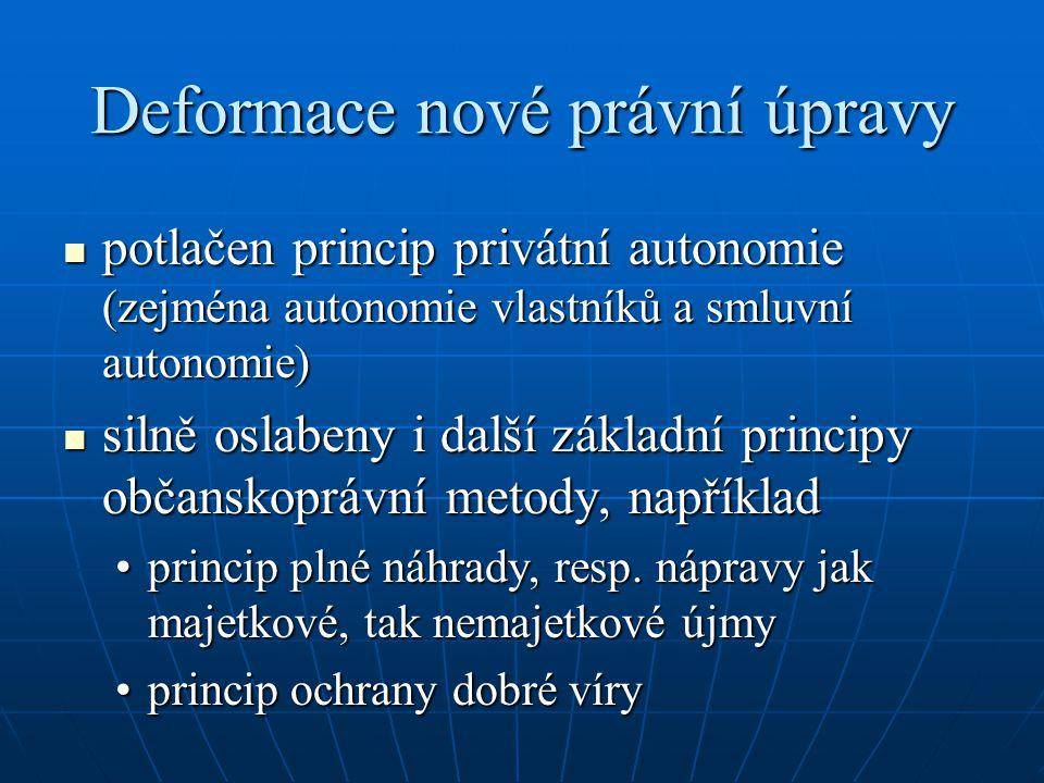 Deformace nové právní úpravy potlačen princip privátní autonomie (zejména autonomie vlastníků a smluvní autonomie) potlačen princip privátní autonomie