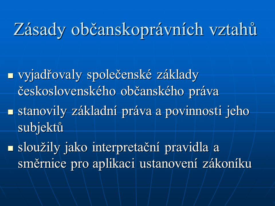 Zásady občanskoprávních vztahů vyjadřovaly společenské základy československého občanského práva vyjadřovaly společenské základy československého obča