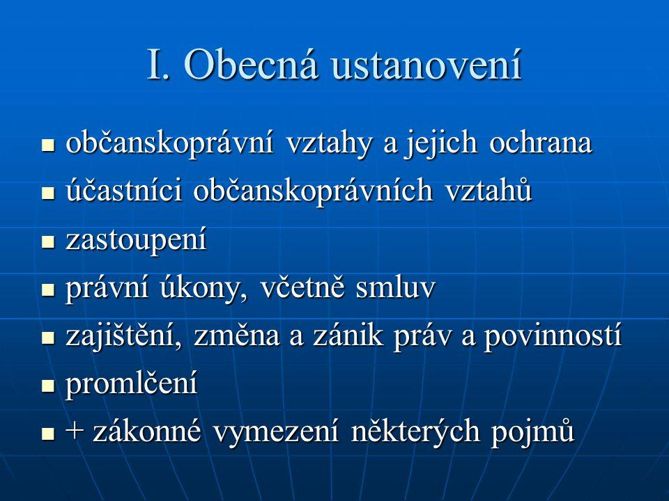 I. Obecná ustanovení občanskoprávní vztahy a jejich ochrana občanskoprávní vztahy a jejich ochrana účastníci občanskoprávních vztahů účastníci občansk