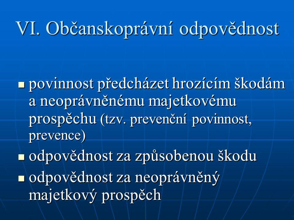 VI. Občanskoprávní odpovědnost povinnost předcházet hrozícím škodám a neoprávněnému majetkovému prospěchu (tzv. prevenční povinnost, prevence) povinno