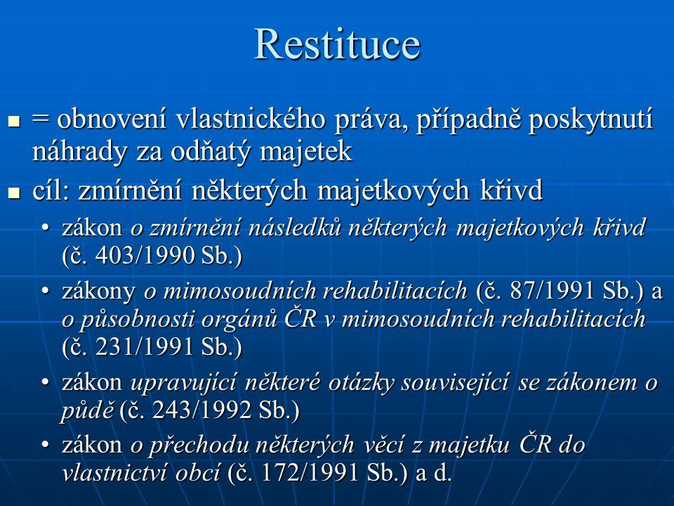 Restituce = obnovení vlastnického práva, případně poskytnutí náhrady za odňatý majetek = obnovení vlastnického práva, případně poskytnutí náhrady za o