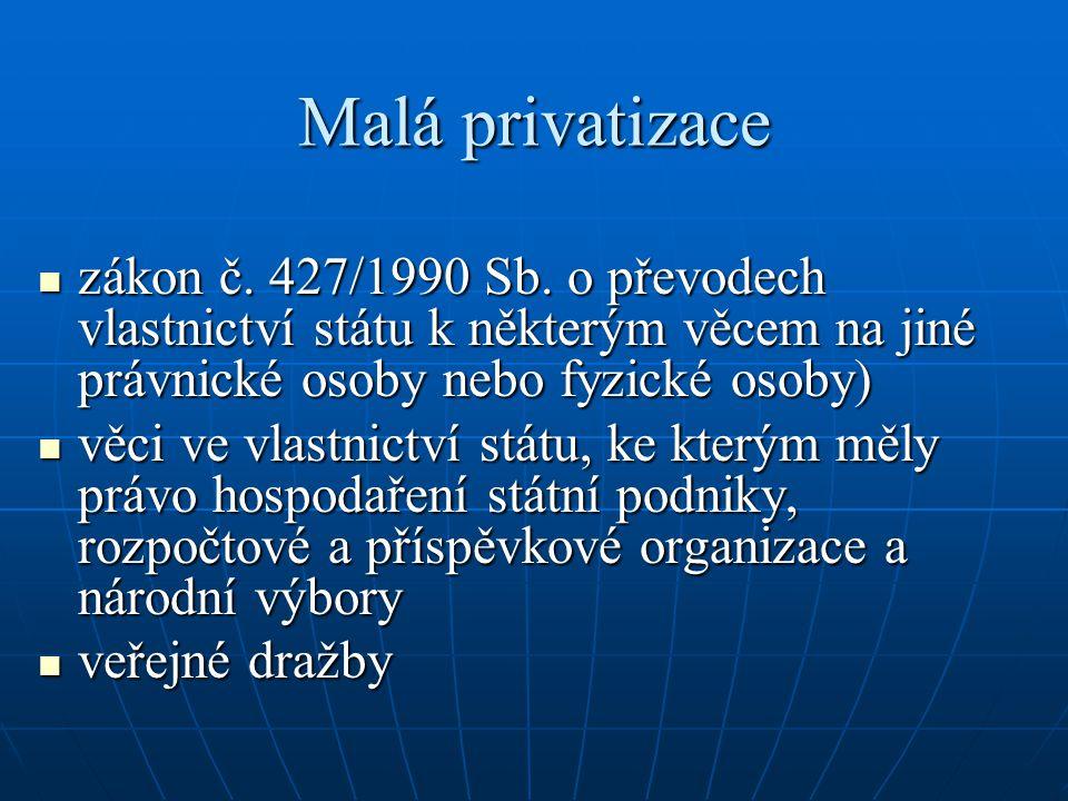 Malá privatizace zákon č. 427/1990 Sb. o převodech vlastnictví státu k některým věcem na jiné právnické osoby nebo fyzické osoby) zákon č. 427/1990 Sb