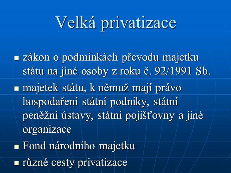 Velká privatizace zákon o podmínkách převodu majetku státu na jiné osoby z roku č. 92/1991 Sb. zákon o podmínkách převodu majetku státu na jiné osoby