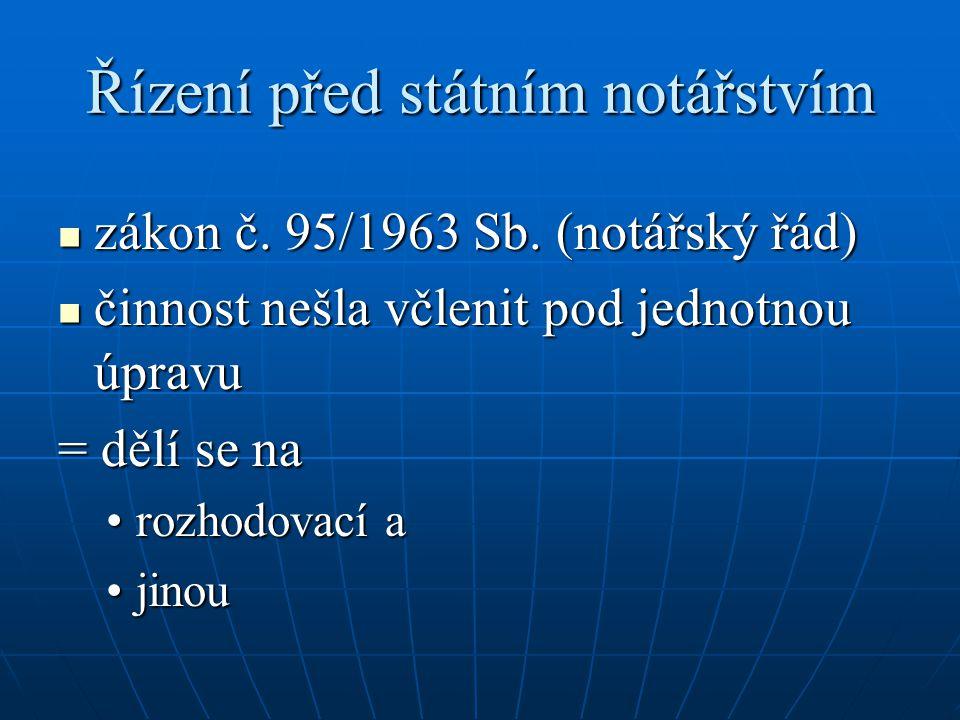 Řízení před státním notářstvím zákon č. 95/1963 Sb. (notářský řád) zákon č. 95/1963 Sb. (notářský řád) činnost nešla včlenit pod jednotnou úpravu činn
