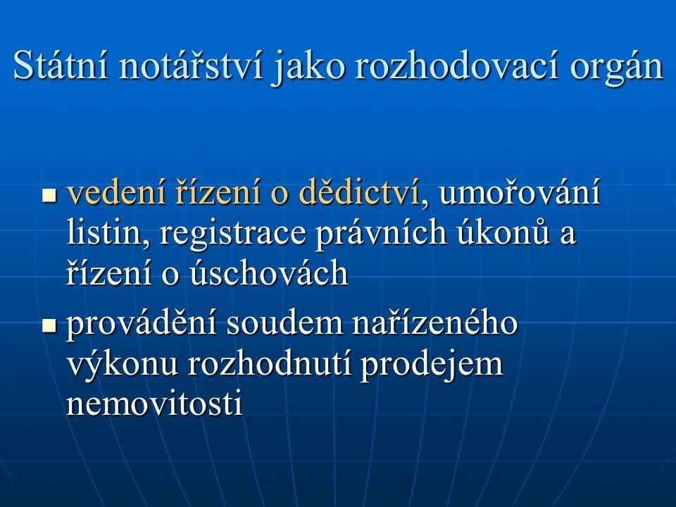 Státní notářství jako rozhodovací orgán vedení řízení o dědictví, umořování listin, registrace právních úkonů a řízení o úschovách vedení řízení o děd