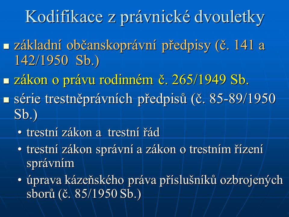Kodifikace z právnické dvouletky základní občanskoprávní předpisy (č. 141 a 142/1950 Sb.) základní občanskoprávní předpisy (č. 141 a 142/1950 Sb.) zák