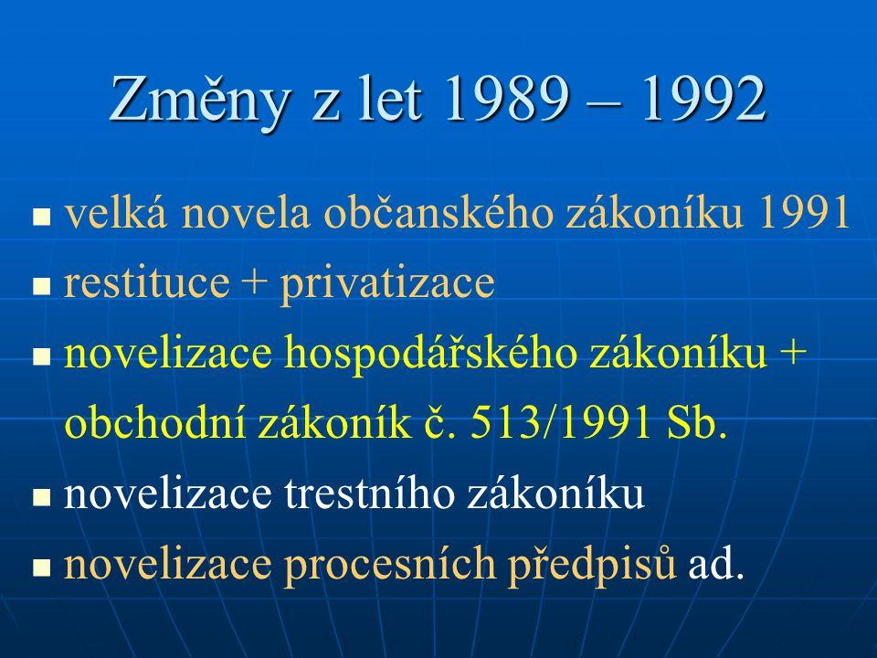 Změny z let 1989 – 1992 velká novela občanského zákoníku 1991 restituce + privatizace novelizace hospodářského zákoníku + obchodní zákoník č. 513/1991