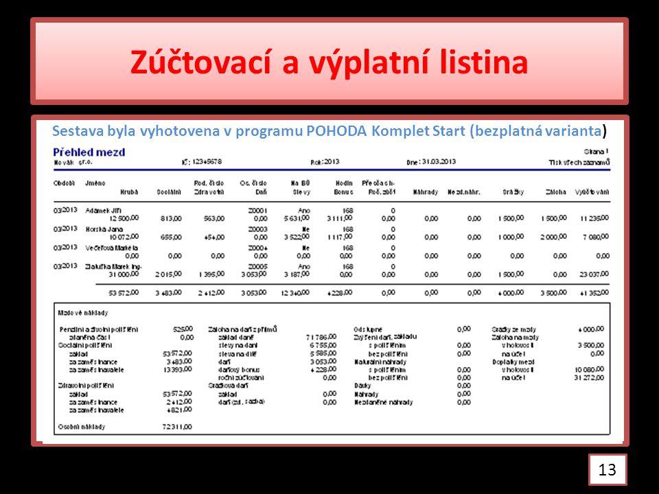 Zúčtovací a výplatní listina Sestava byla vyhotovena v programu POHODA Komplet Start (bezplatná varianta) 13