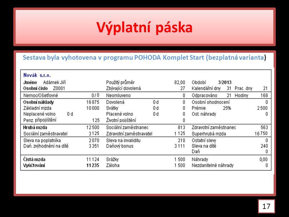 Výplatní páska Sestava byla vyhotovena v programu POHODA Komplet Start (bezplatná varianta) 17