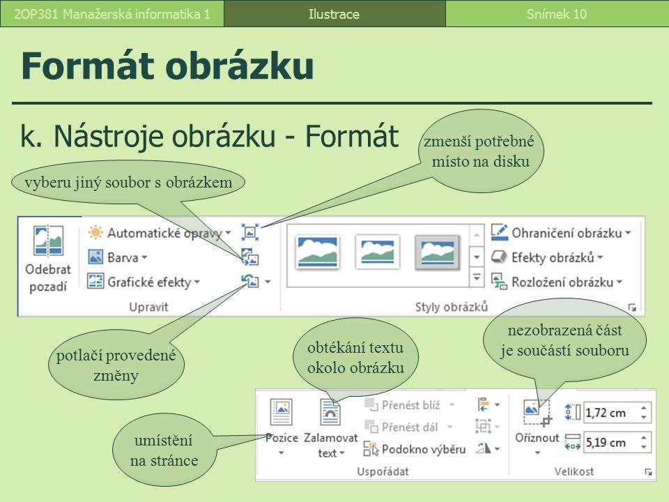 k. Nástroje obrázku - Formát Formát obrázku IlustraceSnímek 102OP381 Manažerská informatika 1 zmenší potřebné místo na disku vyberu jiný soubor s obrá